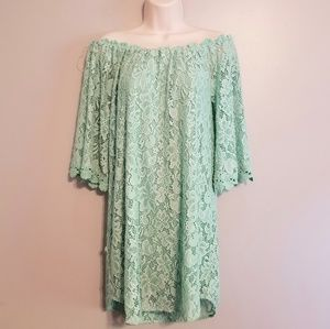 Umgee》 Teal Lace Off-The Shouldef Mini